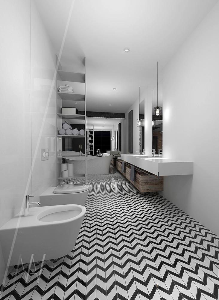 czarnobiała łazienka